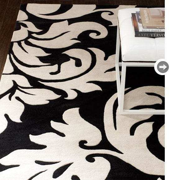 Oversized Damask Print On A Hand Tufted Rug   Swoon! I Would Love To · Black  White ...