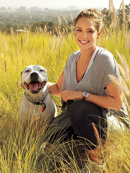 Jessica Alba in a beautiful scenic pic with 5-year-old female American bulldog rescue Bowie.
