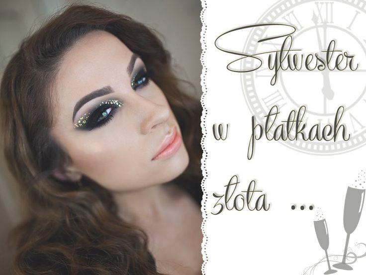 Makijaż Sylwestrowy - czarne smoky z płatkami złota