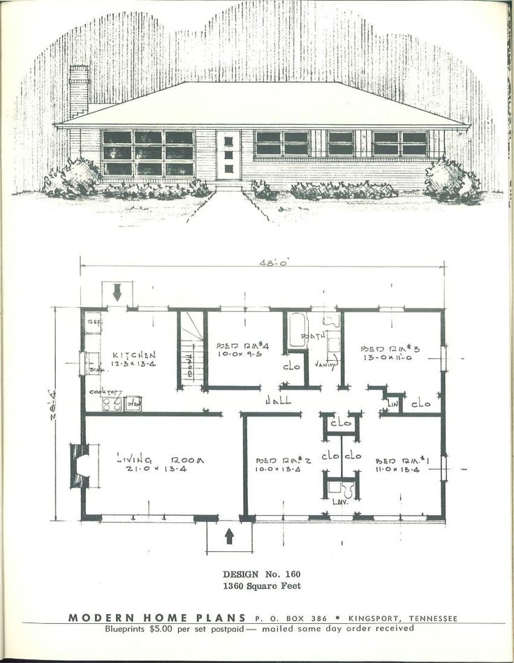 443 Best Images About Vintage House Plans 1950s On