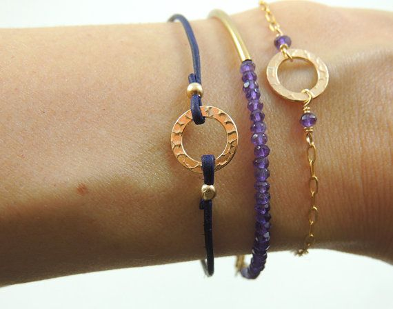 Gold Circle Delicate Bracelet - Dainty Gold or Silver Bracelet - Minimal Infinity Stacking Bracelet - February Amethyst Birthstone