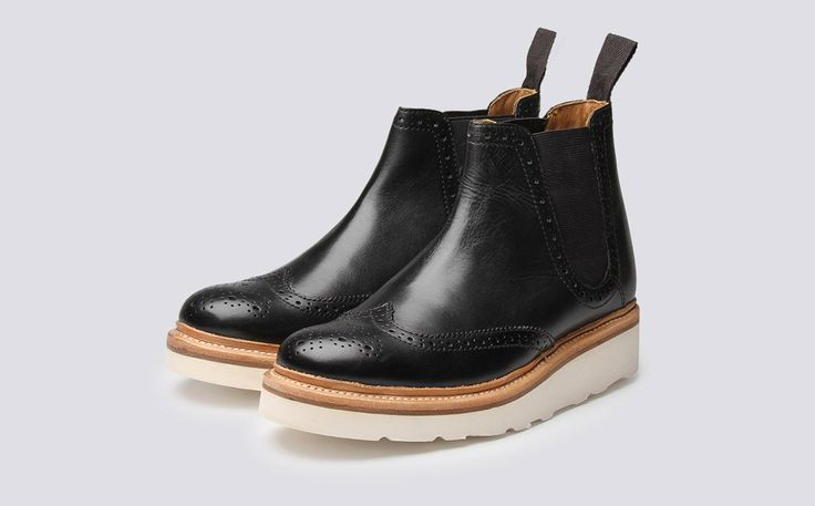 Womens Chelsea Boot in Black Calf Leather with a White Wedge Sole | Alice | Grenson Shoes - Three Quarter View