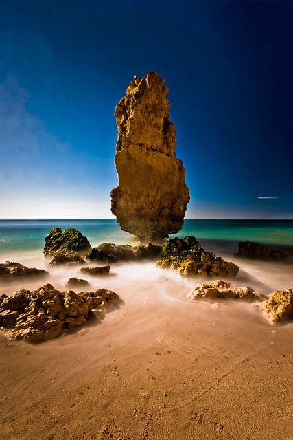 "Portugal. ""Taken from a hidden part of Praia da Marinha beach which can only be…www.reversehomesickness.com/ #beach #algarve"