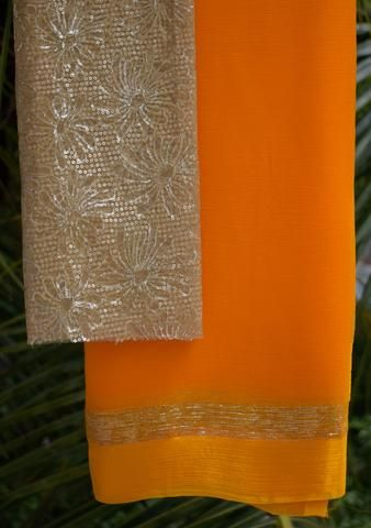 Marigold Orange saree with embroidered blouse piece