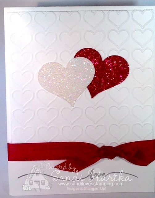 Stampin'Up! Happy Heart Textured Impressions Folder, Happy Heart Folder, Valentine's Card, hand-stamped greeting cards. Sweetheart punch, Hello Life stamp set. Could use Groovy Love