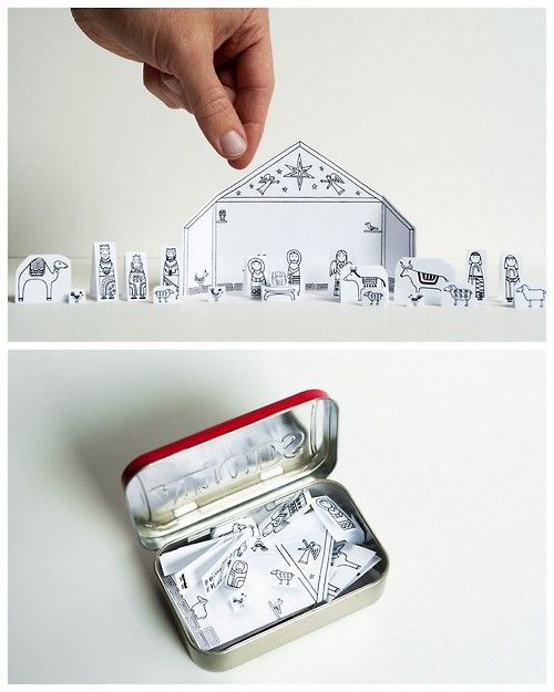 DIY Traveling Altoids TIn Printable Nativity Scene from Made by Joel here. For other easy DIYs and printables (circus, Paris, cats etc…) go here: unicornhatparty.com/tagged/made-by-joel Lots of his DIYs fit in Altoids TIns.