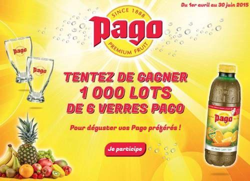 Jeu concours Pago : 1000 lots de 6 verres à gagner par INSTANT GAGNANT