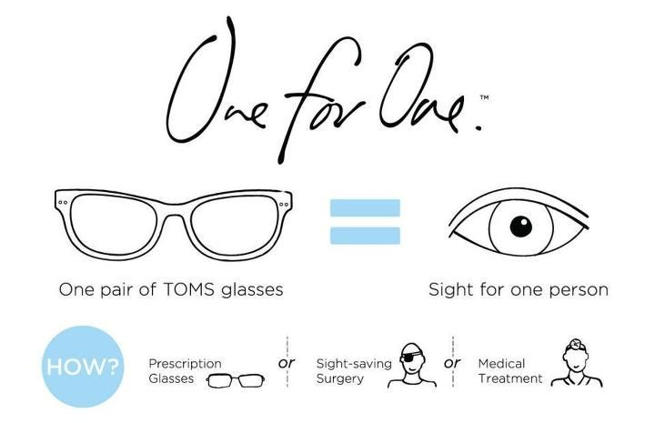 With every pair of TOMS Eyewear purchased, TOMS will help give sight to a person in need. One for One.
