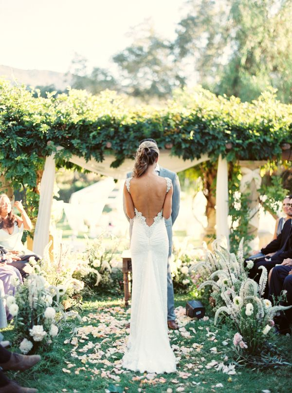 Elegant Ojai Resort Wedding with Erich Mcvey via oncewed.com // love love love the low back