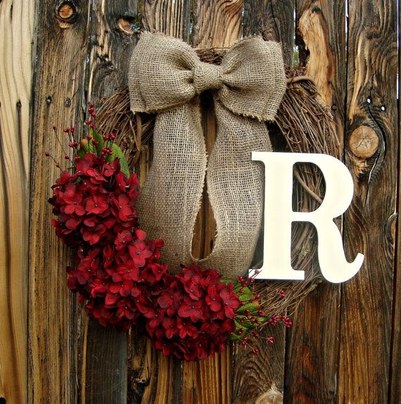 Red Hydrangea Wreath - Monogrammed Wreath - Initial Wreath - Year Round Wreath - Wreaths - Door Wreath - Wreath with Monogram on Etsy, $50.00