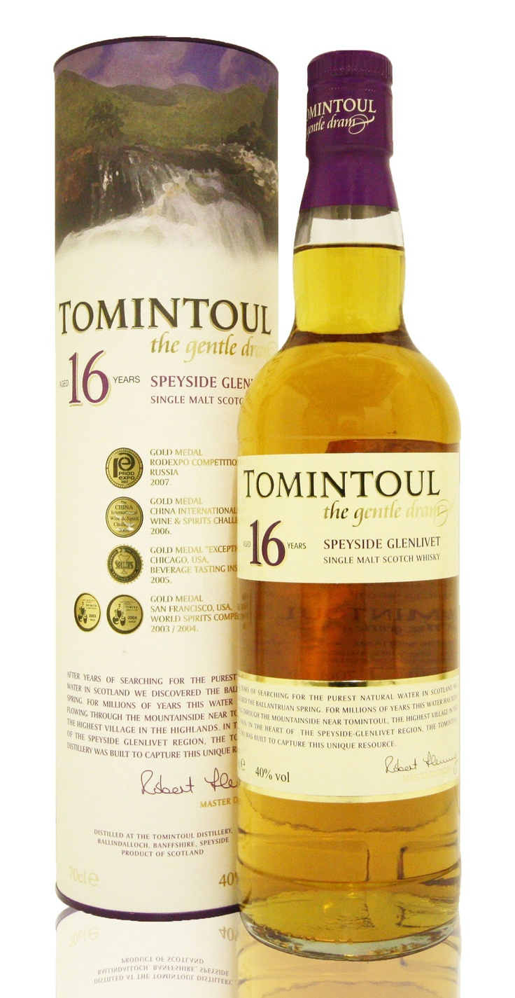 @Marsas (Degustacija) 13/02/14 (Tomintoul 16 years | Speyside) The color on this is golden honey like jewel quality amber (it spent some time in a sherry cask). The nose is floral almost like a ladies perfume. The Tomintoul 16 is great value for money - I don't think any other 16 year-old whiskies are available at this great price. Upon tasting it, I could see why they call it 'the gentle dram' - lots of subtle fruit flavours. The flavor robust but balanced with wonderful honey notes.