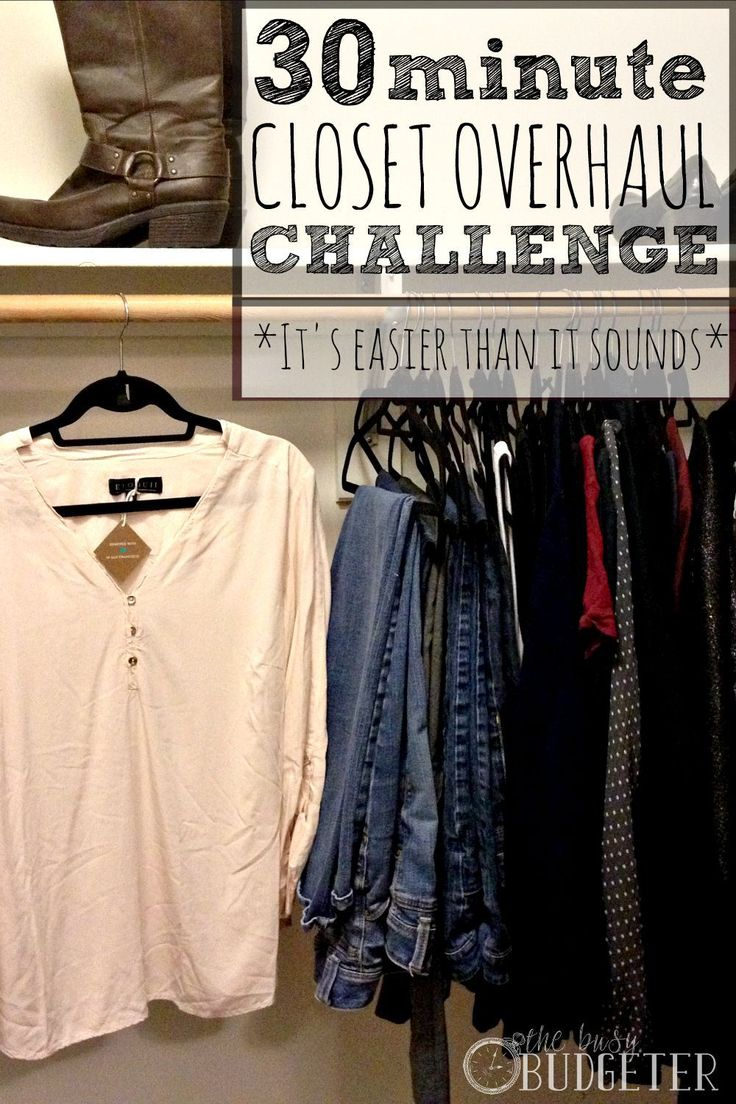 30 minute Closet Overhaul Challenge. This is such an easy way to completely transform your closet. I know it sounds hard, but it was actually really easy! I wish I could do everything like this! Having it in steps and racing the clocked, got everything done within the 30 minutes. (Which, if you had seen my closet before, you would know is a miracle).