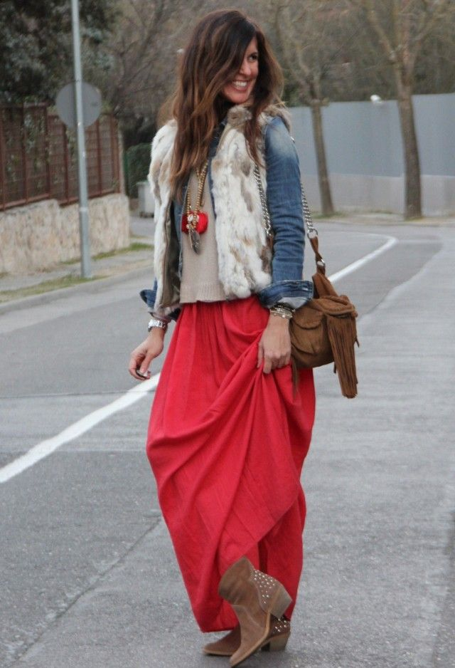 Fall looks for the maxi skirt.  What shoes to wear?  34 Fashionable Casual Combinations With Long Skirts For This Fall