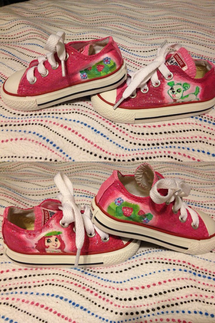 Walking dead converse shoes for sale - Custom Hand Painted Strawberry Shortcake Converse Shoes