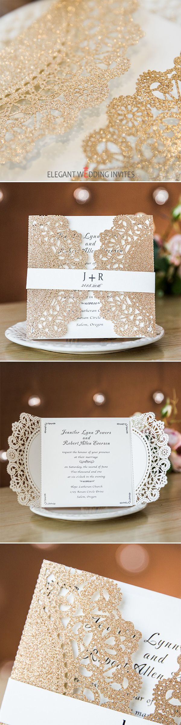 as low as $2.69 - luxurious rose gold glittery laser cut wedding invitations EWWS150
