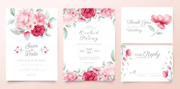 Botanic Wedding Invitation Cards Template With Watercolor Flowers