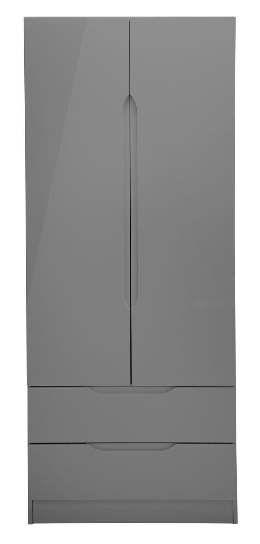 Buy One Call Legato Gloss 2 Door 2 Drawer Wardrobe Dark Grey Wardrobes In 2020 Grey Wardrobe Drawers Dark Grey
