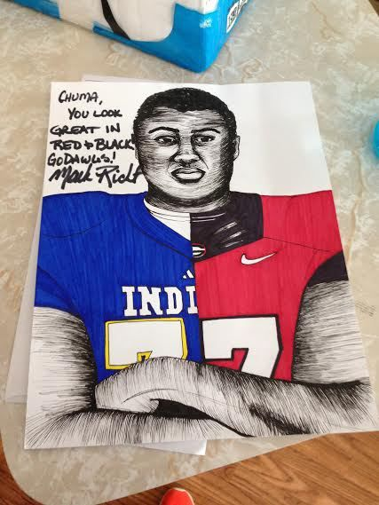 Georgia sends recruits hand-drawn portraits of them in Bulldog gear, complete with a message and signature from Mark Richt