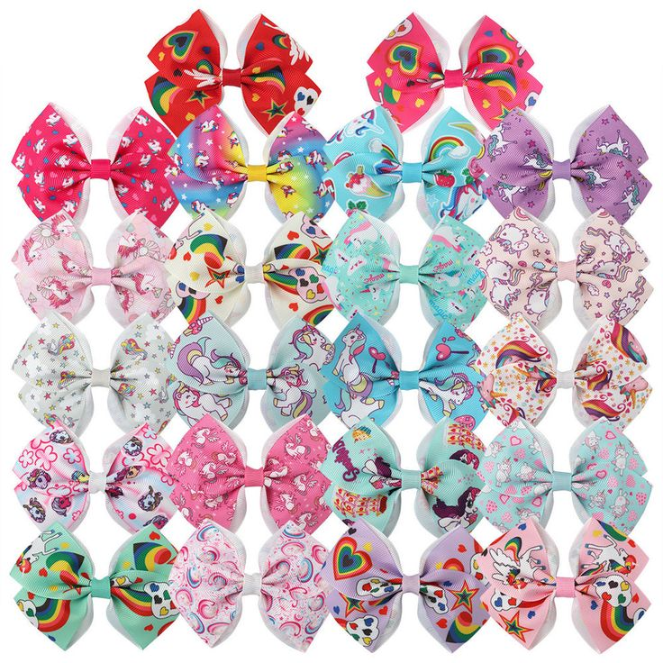 "22pcs/lot Cartton Grosgrain Ribbon Hair Bows Hairpins 3.5"" Unicorn Pattern Bows  #XIMA"