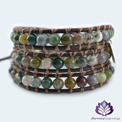 The Empower wrap bracelet has been designed with stunning Indian Agate Gemstones. This wrap bracelet is the perfect companion to our Empower Necklace and they look wonderful worn together. Created to promote courage, strength and self- confidence from within. Feel empowered and take charge of your life.  On chocolate brown genuine leather (or vegan ...