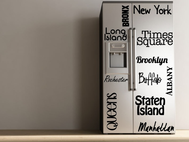 New York - Vinyl Decal - Refrigerator Decal. $40.00, via Etsy.