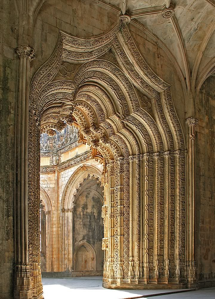 Batalha Monastery, is a Dominican convent in Batalha, in the District of Leiria, Portugal.  It was erected in commemoration of the 1385 Battle of Aljubarrota, and would serve as the burial church of the 15th-Century Aviz dynasty of Portuguese royals. It is one of the best and original examples of Late Gothic architecture in Portugal, intermingled with the Manueline style.