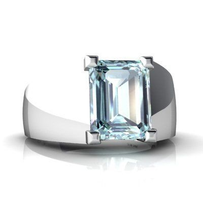 14k White Gold Emerald Cut Genuine Aquamarine Men S Ring