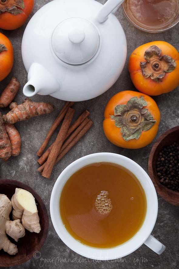 Spiced Persimmon Turmeric Tea: In this tea ginger supports digestion, fragrant cinnamon helps to regulate blood sugar and has anti-microbial properties, persimmons are a natural remedy for acid reflux and turmeric along with the black pepper has anti-inflammatory and anti-cancer properties.
