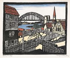 Margaret Preston - 1932. Woodcut, printed in black ink, hand coloured with gouache on cream Japanese laid paper