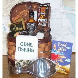 Fishing Gift Basket/ I'm putting together 2 gift baskets for our Cabin Fever event this Saturday.. I think I will make one similar to this..The other will be a wine theme.
