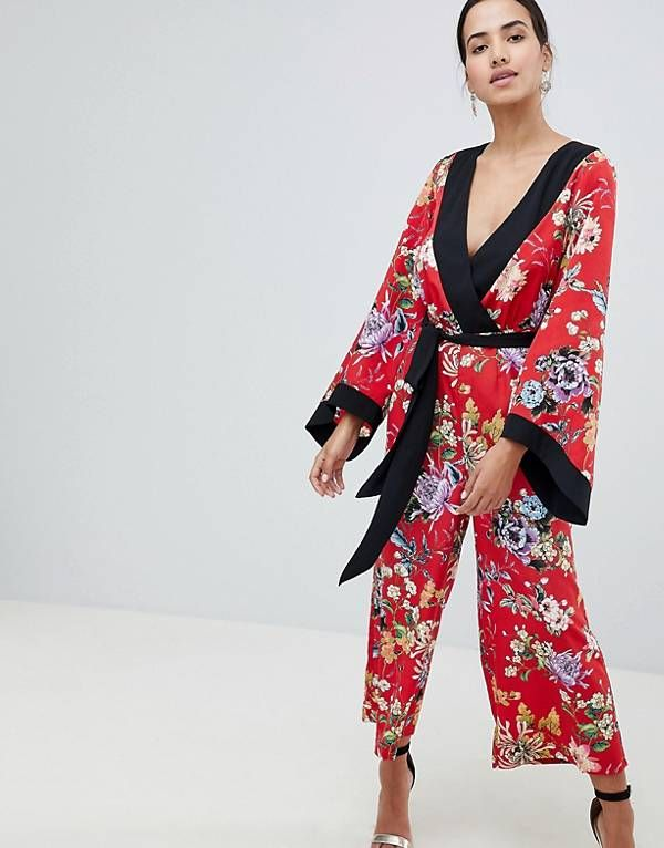 f225378a8d ASOS DESIGN kimono jumpsuit with tipping in floral