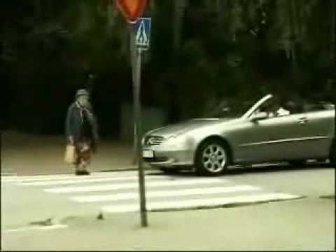 """""""DON'T HONK AT OLD PEOPLE: A lady was videotaping her son riding a skate board when her attention switched to an old woman trying to cross the street. You can hear the lady who is doing the taping giggling as she records the event."""" -air bags hehe"""