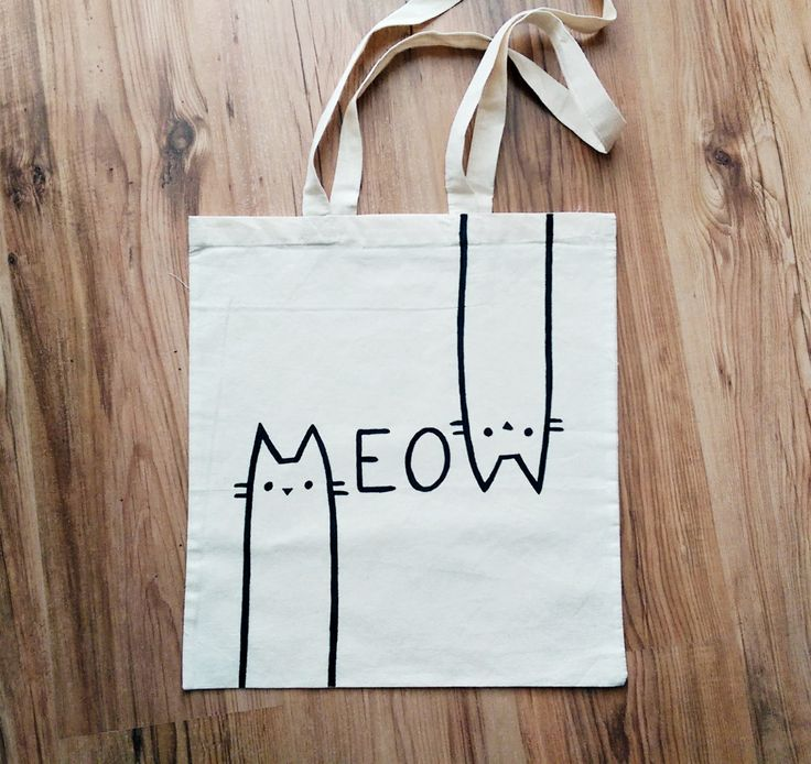 MEOW TOTE BAG, cat bag, cat lover, cat gifts, cat lady, personalized bag, hand painted, shopping bag, reusable bag, gift for her