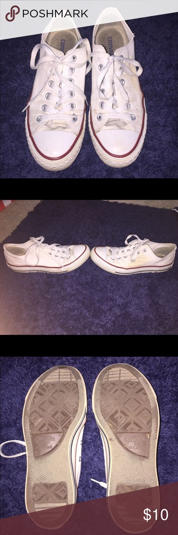 White low top converse USED condition. Need to be cleaned. The sides are separating. Men's size 6/ size women's 8 Converse Shoes Sneakers