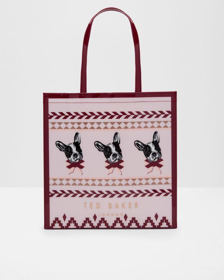 Ted Baker Cotton Dog Fair Isle large shopper bag Dusky Pink