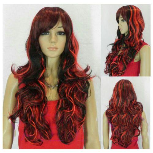 W holesale цена Горячее Надувательство TSC ^ ^ ^ Новая Мода Лолита Стиль Длинными Вьющимися Волосами Полный Парик Косплей Костюм Черный + RedCosplay Партия