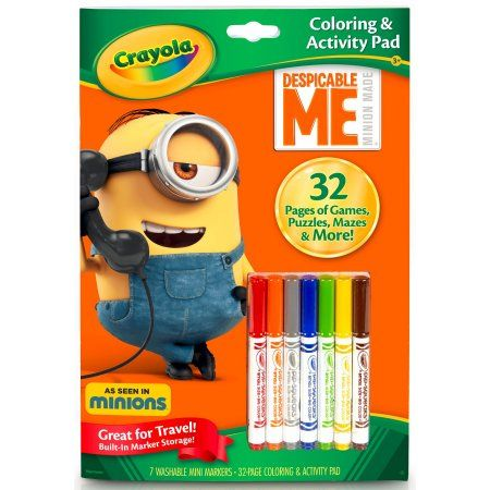 crayola color and activity book despicable me 32 coloring pages 7 mini markers