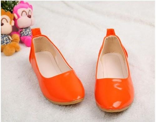 Orange Ballet Flat Loafers