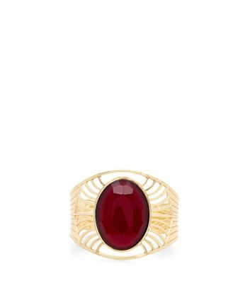 - Gold finish- Slip on design- Brown gemstone detail