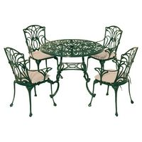 LEISUREGROW-HOME AND GARDEN-Sheds & Garden Furniture-Leisuregrow Norfolk 4 Seater Outdoor Dining Set-£449.00-This attractive dining set has an intricate, Art Nouveau-inspired design that will make it a real feature in your garden or on your patio. Made from anti-rust cast aluminium, the armchairs include a cream-coloured seat pad, with a removable, machine washable cover. Please note: Not all of our ranges are on display in our furniture departments. Please call ...