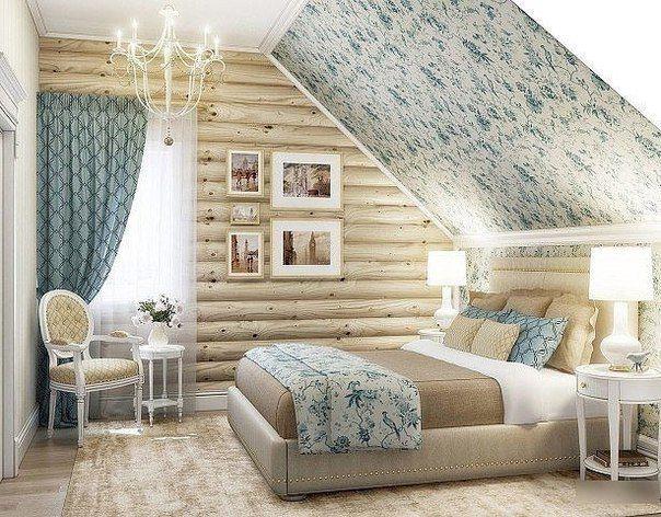 Великолепная и романтичная спальня в мансарде.