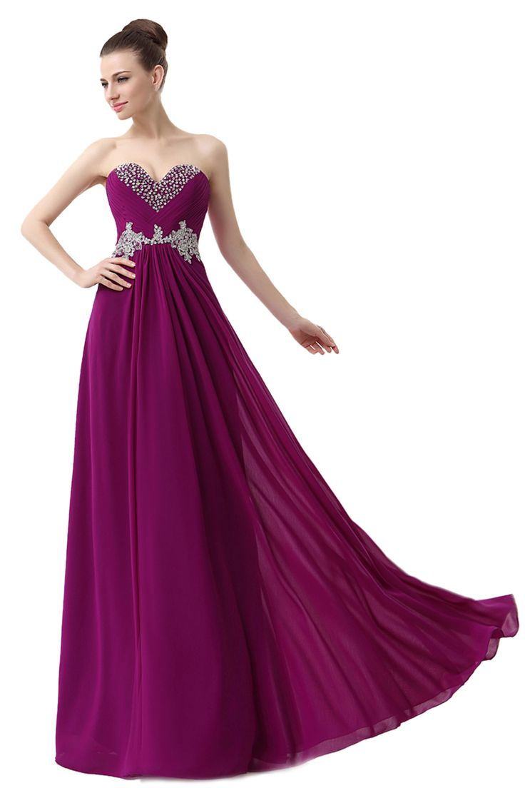 A-line Sweetheart Sleeveless Sequins Appliques Grape Floor-length Chiffon Prom Dress LF12802