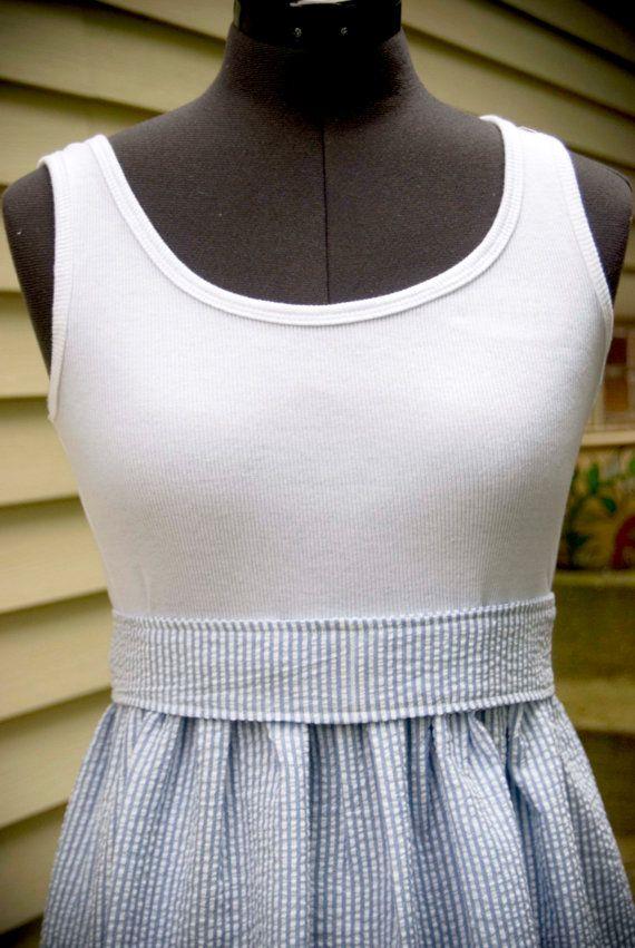 Womens tank top dress Seersucker stripeschoose by LaLooDesigns, $40.00