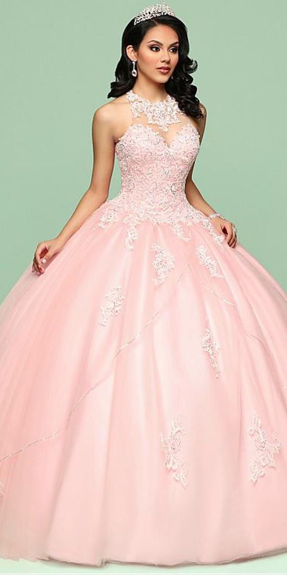 Fashionable Tulle Jewel Neckline Ball Gown Quinceanera Dress With Beaded Lace Appliques & Sequins