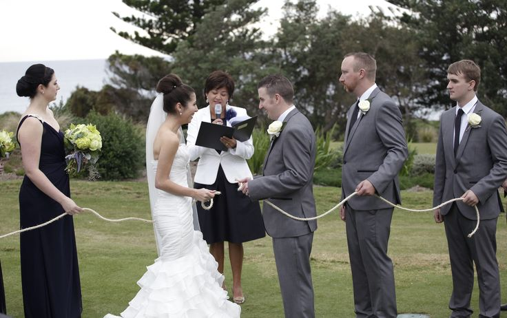 Shaylee and Lance tie the knot, literally! Although they were confused, and laughed their heads off right through the ritual Photo by www.lyonheart.com.au