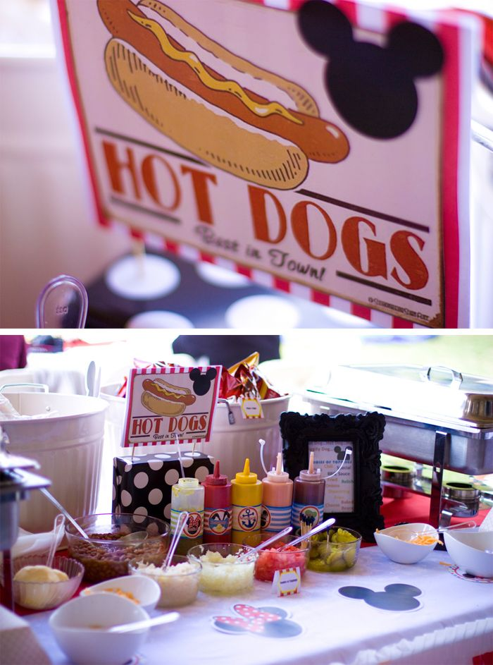 Hot Dog Station - Mickey Mouse Clubhouse 2nd birthday party Liz Dikinson Photography #mickey #parties #mickeymouse #hotdogs #hotdogstation