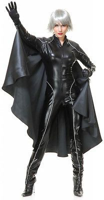 Superhero Lightning Weather Witch Costume Black Catsuit Cape Cosplay Comic Storm