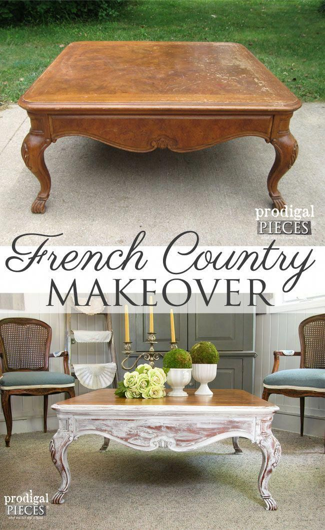 Worn Out Coffee Table Gets French Country Makeover By
