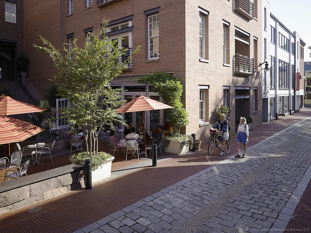 "cady's alley, washington dc  ""shared street"" for peds/cars/etc.  some retail, apartments/office (i think) above  different building facades + lots of entrances on the street  http://www.flickr.com/photos/scorchedearth/4312383722/  http://www.flickr.com/photos/greatphotographicon/5996641316/"
