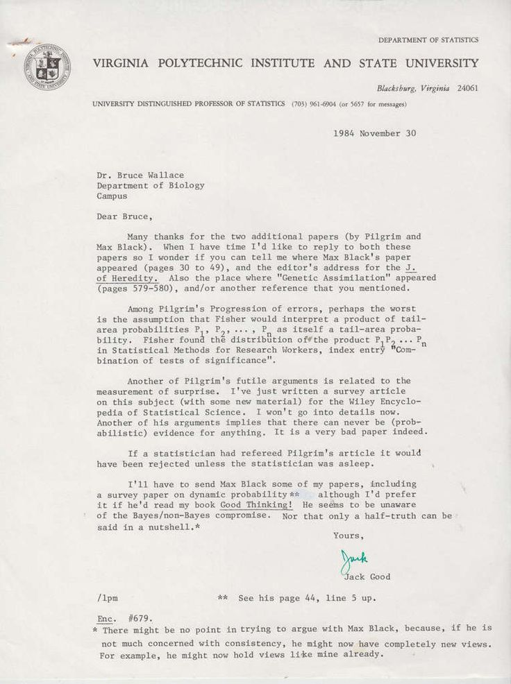 Bletchley Park & Computing. Jack Good Typed letter signed to fellow Virginia Tech Professor Bruce Wallace. Together with 6 mechanically reproduced 5 introductions in a few versions of ?(Neo) * Darwinism? 4 of which are signed presentation copies, the o